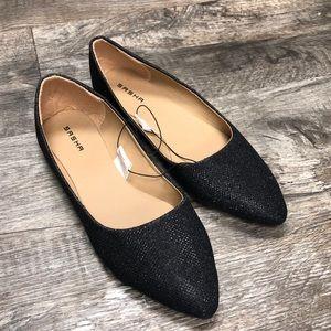 Sasha ballet glitter black flats shoes nwt
